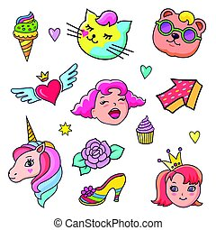 Background with fashion patch badges for girls