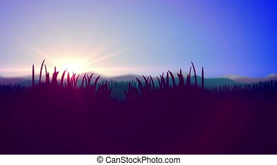"""Silhouette of Grass Flowers against a Sunset"""