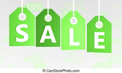 """Green hanging sales tags. Shopping sales concept. """