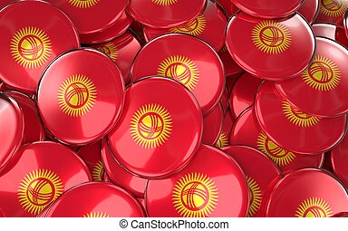 Kyrgyzstan Badges Background - Pile of Kyrgyzstani Flag...