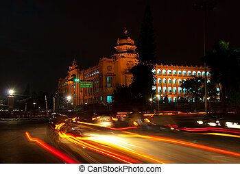 Bangalore at night - The state legislature building, the...