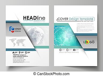 The vector illustration of the editable layout of two A4 format modern covers design templates for brochure, magazine, flyer, report. Chemistry pattern. Molecule structure. Medical, science background