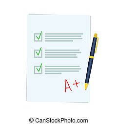 good exam results paper sheet with pen. Score of test,...