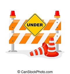Road Barrier With And Traffic Cone - Road Barricade and...