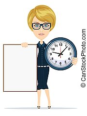 Woman holding a blank poster and clock. Stock vector...