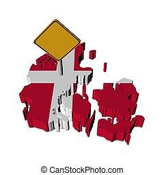 warning sign on Denmark map flag