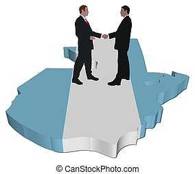 people on Guatemala map flag - Business people shaking hands...