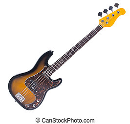 Bass guitar, isolated object on white background