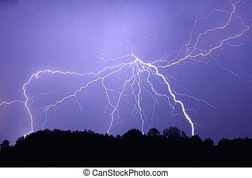 Lightning bolt at night