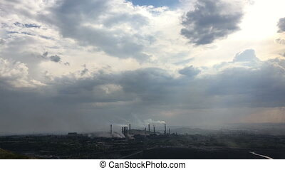 smoking power plant timelapse clouds
