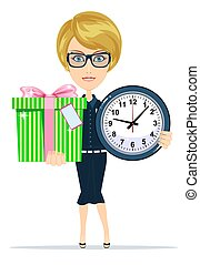 Woman holding a gift box and clock. Stock vector...
