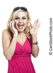 Surprised happy lady using cell phone against white backdrop