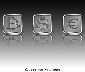 Square currency emblems - Vector illustration of different...
