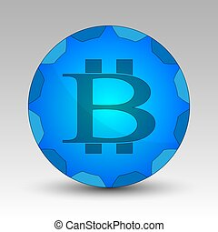 Blue circle with bitcoin sign - Vector illustration of a...