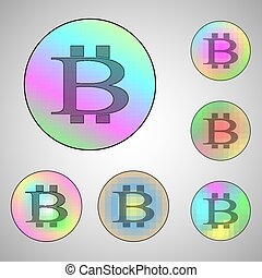 Colorful circles with bitcoin signs - Vector illustration of...