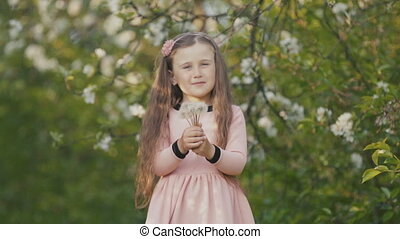 Girl blowing on a dandelion - The girl blows on the...