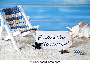 Label With Deck Chair, Endlich Sommer Means Happy Summer -...