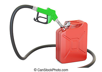 gas pump nozzle with jerrycan, 3D rendering