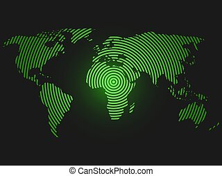 World map of concentric rings. Green led light futuristic...