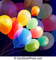 Bright multicolored holiday balloons