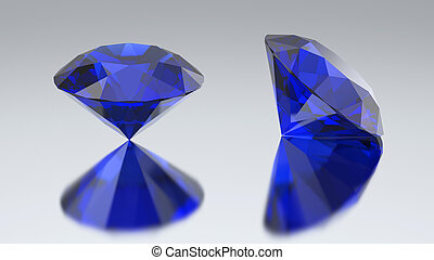 3D illustration two diamond blue sapphire with reflection