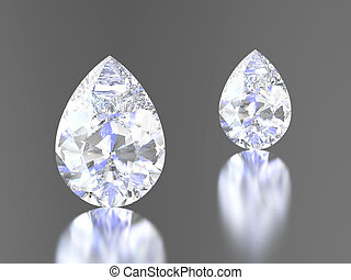 3D illustration two diamond teardrop with reflection on a...