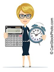 Woman holding an electronic calculator and alarm clock....