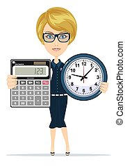Woman holding an electronic calculator and clock. Stock...