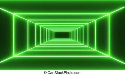 Loop green neon tunnel background