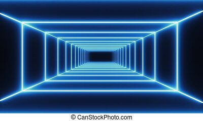 Loop blue neon tunnel background