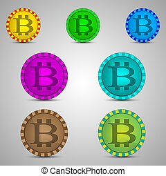 Chips with bitcoin symbol - Vector illustration of different...