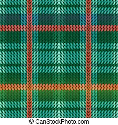 Seamless knitting color pattern in green, turquoise and red hues