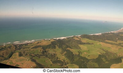Landscape of green mountain and ocean coast view from...
