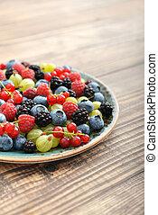 Summer berries on plate