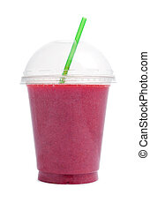 Berry smoothie in plastic  cup