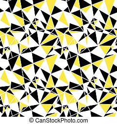 Vector black and yellow triangles abstract seamless repeat...