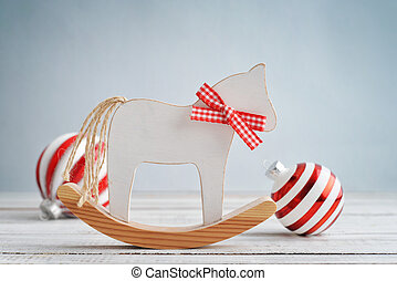 Toy horse with christmas decorations