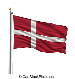 Flag of Denmark with flag pole waving in the wind over white...