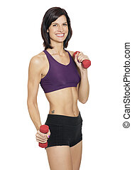 Fit woman holding dumb bells on white background