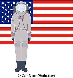 American spacesuit A7L - Space suit on background of the...