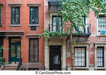 Classic New York apartment buildings in Greenwich Village -...