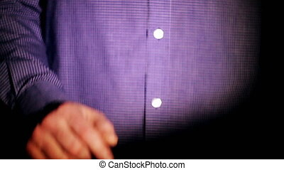 businessman projects by clicking on the holographic screen...
