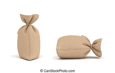 3d rendering of money bags isolated on white background.