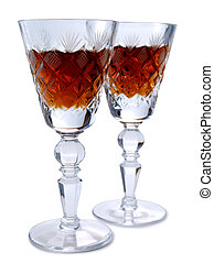 Vintage glass four - Vintage glass for wine on white...