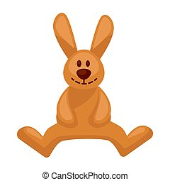 Plush toy hare with long ears vector illustration isolated...