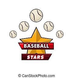 Baseball stars logotype design with small balls and award in...