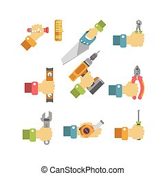 Building and fixing tools in cartoon humans hand...