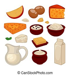 Dairy products colorful vector set isolated on white....