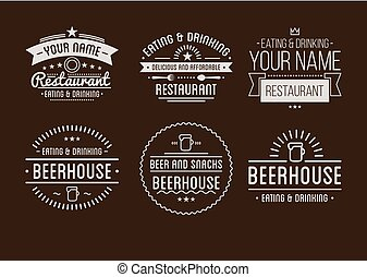 Restaurant logo badges in vintage style vector collection -...