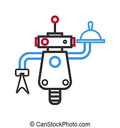 Outlined robot waiter with meal on tray and napkin -...